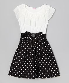 Another great find on #zulily! Black & White Polka Dot Ruffle Dress - Girls by Di Vani #zulilyfinds