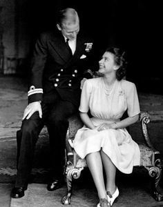 Young love: The Queen wore the diamond flower brooch when she announced her engagement to Prince Philip in 1947