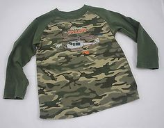 Garanimals 3T Boys Green Camo Helicopter Pilot Camouflage T-Shirt Long Sleeves