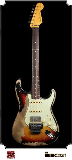 Fender Ultimate Relic : Stratocaster Masterbuilt by Jason Smith for The Music Zoo. Relic'd Three Tone Sunburst with Floyd Rose, Humbucker & 2 Single Coils Fender Electric Guitar, Cool Electric Guitars, Stratocaster Guitar, Fender Guitars, Fender Custom Shop, Custom Guitars, Guitar Shop, Cool Guitar, Learn Guitar Chords