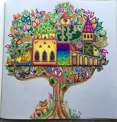 Treehouse from Enchanted forest! I used mostly Prismacolor pencils and some gel pens