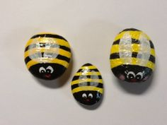 Hand painted rocks - Bees by Phyllis Plassmeyer & Sharon Allen