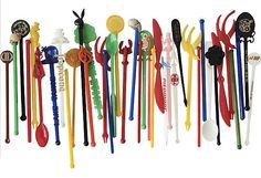 Collection of Swizzle Sticks. Across the USA. Lifelong Collection.. $19.00, via Etsy.