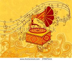 Vector design of gramophone in Indian art style