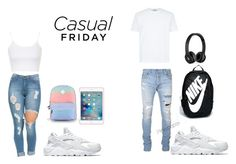 """""""Goals"""" by pinkypopsx ❤ liked on Polyvore featuring NIKE, Topshop, Vans, Balmain and Beats by Dr. Dre"""