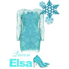 Queen Elsa by kaitlynn-rea on Polyvore featuring Matthew Williamson and Le Parmentier