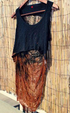 Shredded Crop Tank Top Boho Hippy Medium by UnraveledClothing