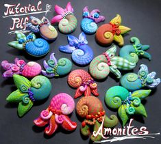 Amonites Organic style polymer clay tutorial by SaffronAddict - to buy from her Etsy shop