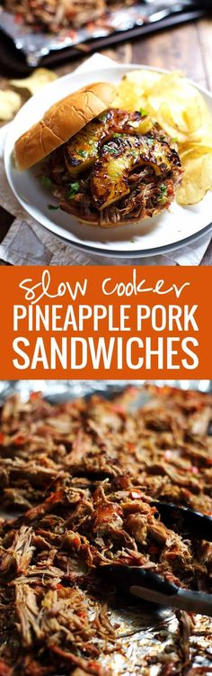 Grilled Pineapple Pork Sandwiches - Juicy shredded slow cooker pork with golden brown pineapple pieces. SO good!