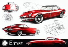 Jaguar E-Type Markers 70x50cm drawn in 2011  by Aleksander Krupa