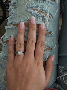 Natural looking coffin acrylic nails