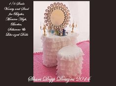 1/6 scale Pink Vanity Set for Blythe Pullip by ShariDeppDesigns, $48.00
