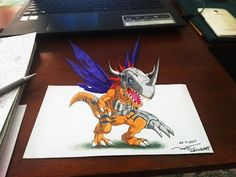 Drawing Yagami Taichi, Agumon (八神 太一, アグモン) 3D | Digimon Adventure Music : Tobu, Wholm & Blume - Cool Material : - Roki A4 paper. - Touchliit markers. - Fabe...