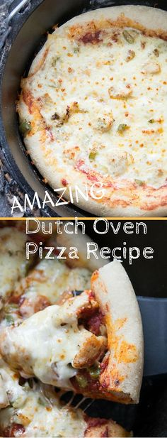 The Best Dutch Oven Pizza Recipe - Clarks Condensed Nothing better than a delicious dutch oven pizza recipe! This dutch oven pizza dough is super easy and makes a great crust for your outdoor pizza recipes! Dutch Oven Pizza, Best Dutch Oven, Dutch Oven Camping, Cast Iron Cooking, Oven Cooking, Fire Cooking, Cooking Steak, Pizza Recipes, Grilling Recipes