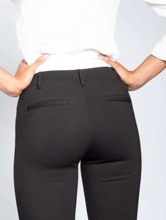 Boot-Flare Black Dress Pant Yoga Pants are boot-cut yoga pants styled like dress pants. Made from a soft, stretchy performance knit. Yoga Pants Outfit, Yoga Pants Girls, Girls Jeans, Best Jeans For Women, Professional Attire, Black White Fashion, Black Dress Pants, Fashion Pants, Leggings Are Not Pants