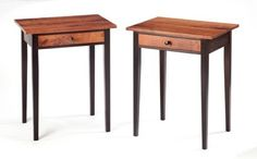 "Artisan Rex White's Custom hand-crafted furniture. ""Shaker Style End Tables""  Wenge with Mesquite Top & Drawer Front""  21.5"" x 16"" x 26.75"""