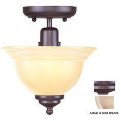 Livex Lighting�8-in W Olde Bronze Semi-Flush Mount Light 51.90