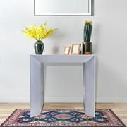 Add a stylish and functional piece of furniture to your home that offers multiple uses and elevates your home with an elegant touch. This stunning wooden table features a beautiful glossy grey varnish that complements its boxy profile while also serving as a solid and sturdy piece of furniture for your home. #homedecor #aff #furniture