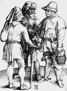 """Albrecht Durer: The three farmers ""-these aren't farmers, they are ""freemen"" notice they are carrying weapons, farmers weren't allowed to do this. Would be nice if someone from germany could get Duerer correct, especially withe proper clothing laws"