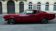 Red 1968 Ford Mustang Fastback in Budapest Dream Cars, Dream Auto, 1968 Ford Mustang Fastback, Classic Mustang, Budapest, Red, Wheels, Photography, Image