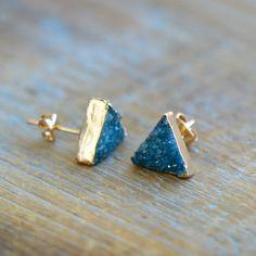 Triangle bleu sarcelle Druzy Crystal par ingredientsforlovely