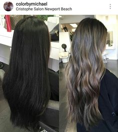 Haistyle. From dark brown to ash lighter brown. Midtones. Highlights. Balayage. Hair.