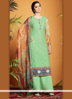 Lovely Digital Print Work Cotton Satin Designer Suit Model: YOS6893