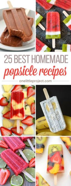 These homemade popsicle recipes look AMAZING! They're so easy to make and so… These homemade popsicle recipes look AMAZING! They're so easy to make and so much healthier with all the fresh ingredients. So awesome for summer! Lunch Snacks, Yummy Snacks, Delicious Desserts, Yummy Food, Easy Snacks, Frozen Desserts, Frozen Treats, Party Desserts, Gelato