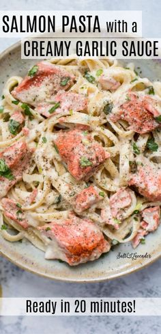 This creamy garlic salmon pasta is the perfect quick, easy, and elegant meal. Its great for busy weeknights but fancy en Recipes Using Egg, Fish Recipes, Seafood Recipes, Cooking Recipes, Creamy Salmon Pasta, Creamy Vegan Pasta, Pasta With Salmon, Seafood Dishes, Pasta Dishes