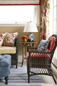 """Beach Inspiration: """"Even in the fog, the sunroom always seems cheery, and we wanted to echo that in the Palm Beach decor,"""" Palmer Weiss says of this San Francisco house. Click through for more sunroom ideas!"""