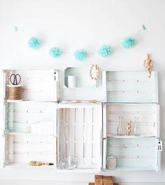ideas para reciclar cajas estilo nórdico escandinavo diy deco diy cajas DIY Organizar con cajas de fruta recicladas cajas de madera de colores bricolaje en casa blog decoracion interiores