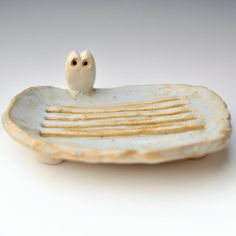 Handmade Owl Soap Dish from Lee Wolfe Pottery $24