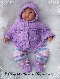 """Hooded Poncho Outfit 19-22"""" doll-reborn, knitting pattern, baby, doll, babydoll handknit designs, poncho"""