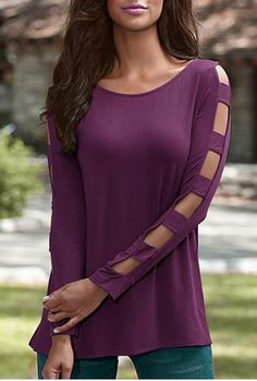 Elegant Scoop Neck Solid Color Cut Out T-Shirt For Women T-Shirts | RoseGal.com