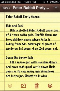 Peter Rabbit Party Games Will probably do a coloring contest as well.