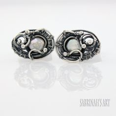 """""""Paisley"""" Cultured Pearl and Fine and Sterling Silver Wire Wrapped Cufflinks by Sabrinah Renee"""
