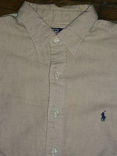Polo Ralph Lauren Lowell Mens 16 1/2 33 Short Slv Dress Shirt Houndstooth Pony
