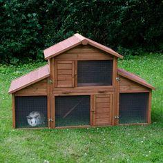 Animalerie  Clapier Castle  enclos pour rongeur et lapin  clapier (avec enclos) : L 175 x l 70 x H 110 cm (2 paquets)