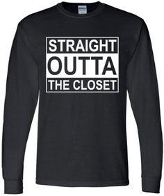 GAY T SHIRT Straight Outta The Closet Unisex Black by ALLGayTees