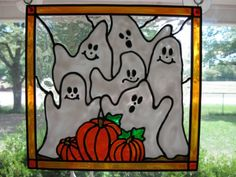 Fall Harvest Halloween Ghost and pumpkins by windows2thesoul, $20.00