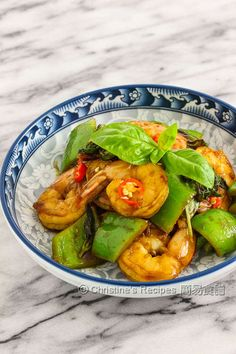 Stir-Fried Prawns with Sweet Soy Sauce and Basil from Christine's Recipes