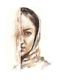 portrait of Niki Karimi painted by Ali Naseri size: Watercolour Painting, Ali, Portrait, Artwork, Instagram, Work Of Art, Headshot Photography, Auguste Rodin Artwork, Ant