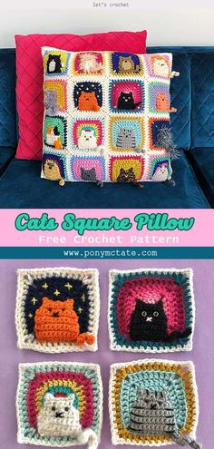 Many Cats Square Pillow Free Crochet Pattern Source by letscrochetorg VEJA MAIS letscrochetorg., Many Cats Square Pillow Free Crochet Pattern Crochet Easter, Chat Crochet, Crochet Mignon, Crochet Home, Crochet Crafts, Diy Crochet Projects, Crochet Art, Yarn Crafts, Crochet Ideas