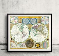 Map of the world - 1794 - FREE SHIPPING - SKU 0118 by PaulMaps on Etsy