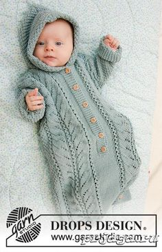 Cable snooze / DROPS baby - free knitting patterns by DROPS design, Cable Snooze / DROPS Baby - Knitted sleeping bag for babies in DROPS Merino Extra Fine. The piece is knitted with a lace pattern, large pearl pat. Knitting For Kids, Baby Knitting Patterns, Baby Patterns, Free Knitting, Crochet Patterns, Knitting Stitches, Drops Design, Crochet Design, Bunting Bag