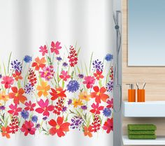 Beautiful #Spirella Campo flowery, colourful shower curtain. Very pretty! #bathroom #flowers #colour #pretty