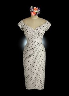 W1034_1-polka dot tea length wedding dresses