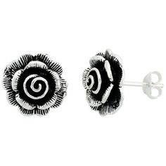 Silver Rose Flower Childrens Stud Earrings, Girls Earrings, Teens Earrings Jewelry. The earrings are 9/16 Inch (14mm) high. It comes with a gift