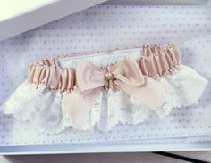Silk garter with nottingham lace - personalised garter
