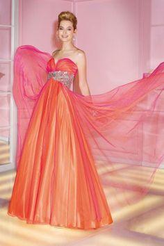 Unique Vintage Beach Long Orange Tulle Elegant Evening Graduation Dress
